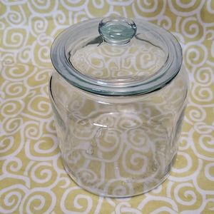 Large ikea clear glass canister with lid